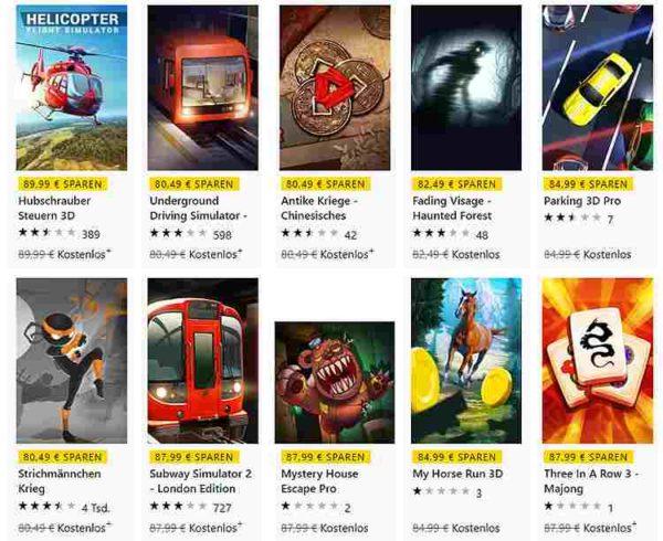 Kostenlose Computerspiele im Microsoft Store